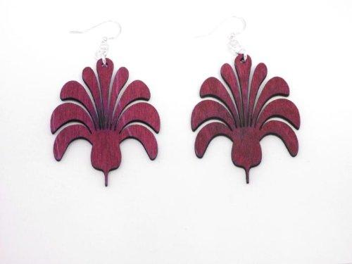 Fuschia Geometric Flower Bouquet Wooden Earrings