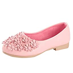 Maxu Cute Girls Floral Pink PU Princess Slip-On Loafer,Little Kid,1M US