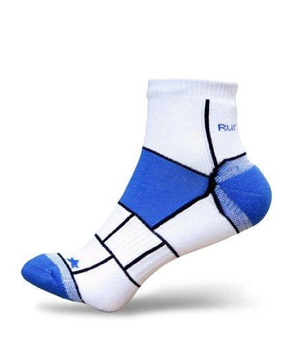 Mens RunBreeze Anti Blister Ankle Running Socks Blue M