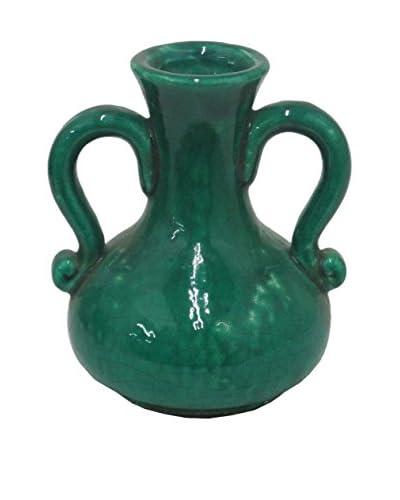 Three Hands Short Blue-Green Terracotta Vase