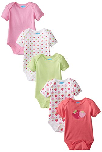BON BEBE Baby-Girls Newborn Strawberry 5 Pack Lap Shoulder Bodysuits with Snaps, Multi, 6-9 Months
