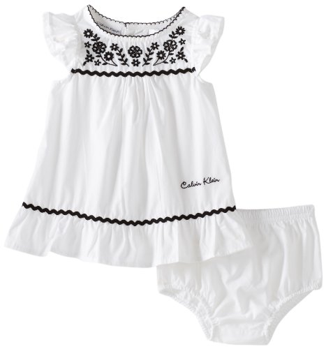 41I9ypERviL Cotton Dress Calvin Klein Baby girls Newborn Cap Sleeve Dress With Panty, White, 0 3 Months Reviews