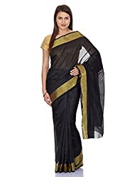 Pavechas Womens Black Banarasi Saree -MK676