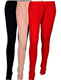 Cotton Leggings (Culture The Dignity Women's Cotton Leggings Combo Of 3_CTDCL_BCR_BLACK-CREAM-RED_FREESIZE)