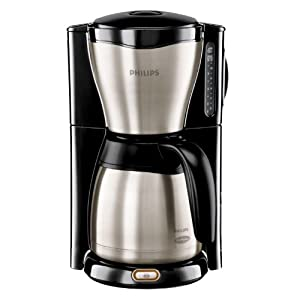 Philips HD7546/20 Thermo Kaffeemaschine (1000 Watt, 1.2 L, Tropf-Stopp Funktion) schwarz/metall