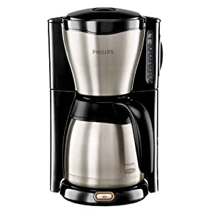 Philips HD7546/20 Thermo Kaffeemaschine (1000 Watt, 1.2 L, Tropf-Stopp Funktion) schwarz/metall