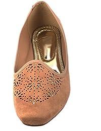 Moda Brasil Sparkling Veneer Brown Ballet Flats For Women