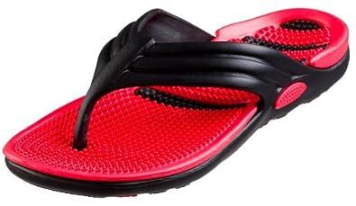 Bertelli New Mens Thong Beach Sandal Slippers in 4 Bright Fun Colors And Bi-layered Sole (7, Black/Red)