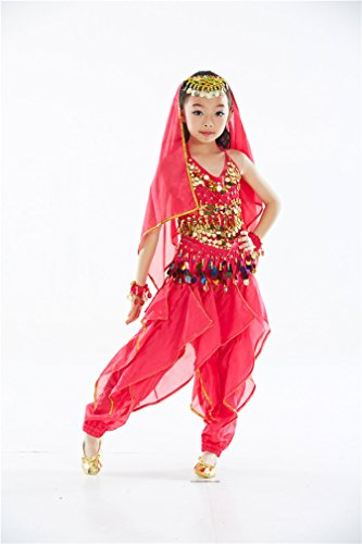 Dreamspell 2014 Professional Rose Red Belly Dance Suit for Children/Kids(M Size)