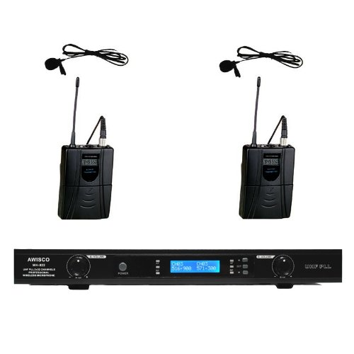 Awisco Uhf Wh-822L 2 Channel Lapel (Lavalier) Wireless Microphone