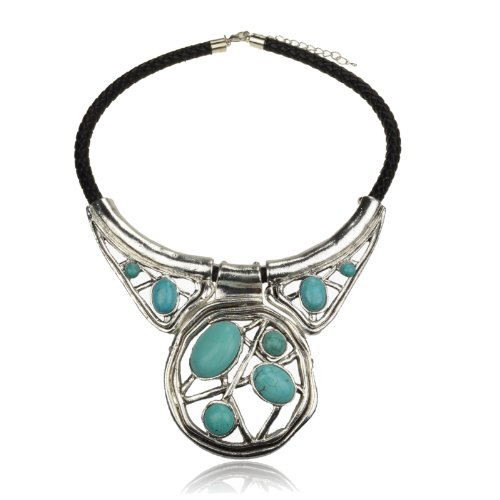 Ladies Huge Multi Nature Turquoise Chunky Tibet Silver Necklace Pendant A2760K