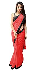 Women's Exclusive Red Georgette Plain Sari with Blouse