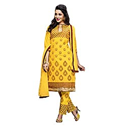 Resham Fabrics Yellow Embroidered Cotton Salwar Suit Dupatta Material