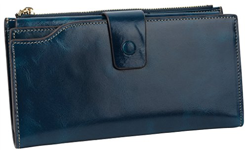 Yaluxe Women's Large Capacity Luxury Wax Genuine Leather Wallet With Zipper Pocket (Gift Box) Blue