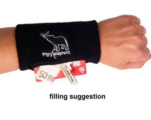 2 x Angry Elephant sport XXL-Wristband sports wallet with pocket with zipper