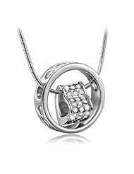 Valentine Gift By Shining Diva 18K White Gold Plated Heart Ring Pendant Necklace With Diamond Cut Austrian Crystals...