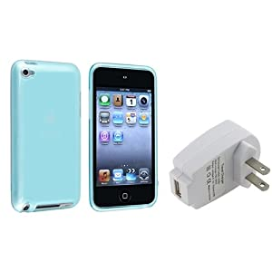 eForCity® Clear Frost Light Blue TPU Rubber Skin Case + White Home Wall Charger Adapter Compatible with Apple® iPod touch® 4th Generation