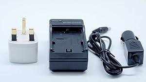 QUMOX New LP-E8 LPE8 mur de batterie chargeur de voiture 2in1 pour Canon EOS 550D 600D 650D 700D avec un adaptateur de voyage