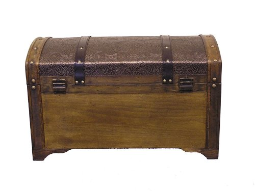 Nostalgic Medium Wood Storage Trunk Wooden Treasure Chest 3