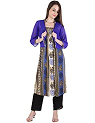 Ayaany Women's Blue Chinese Collar Cotton Kurta