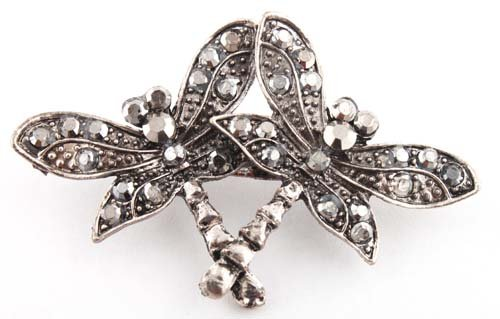 Ladies Black Iced Out Butterfly Brooch & Pin Pendant
