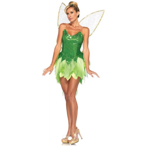 Leg Avenue Disney 5Pc.Pixie Dust Tink Sequin Dress Back Bow Straps Wings Pompom Clips, Green, Medium