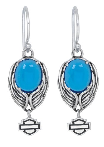 Harley-Davidson Womens .925 Silver Blue Eagle Dangle Earrings Earrings