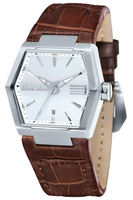 Black Dice Roller BD 055 02 Watch with Stainless Steel Case and Genuine Brown Leather Strap