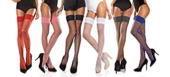 Fishnet Hold ups double silicone lace band (Small)