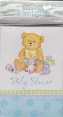 Precious Bear Blue Invitations 8ct