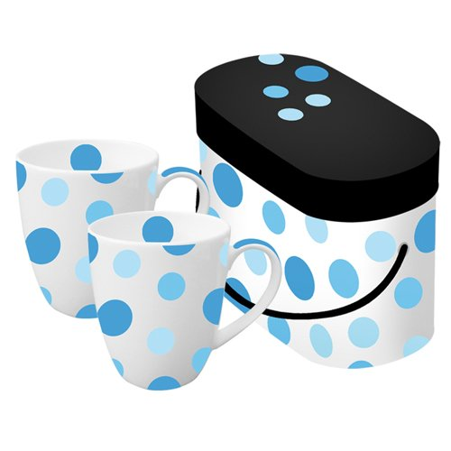 Paperproducts Design Spot Blue 11-Ounce Porcelain Mug, Set Of 2