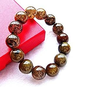 Natural Dragon Agate Bracelet Rosary Bead 14mm for Men