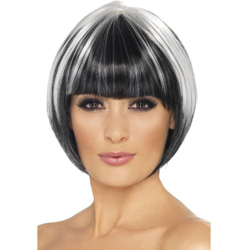 Smiffy's Quirky Bob Wig, Black/Blonde, One Size - 1