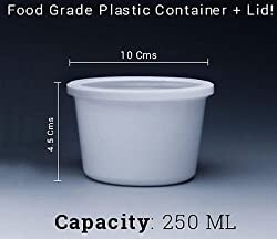 25 Pcs White Plastic Food Grade Disposable Container w/ Tight Lid! Size: 250ML.