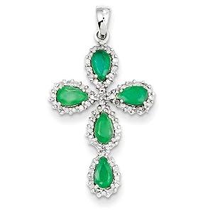 Genuine IceCarats Designer Jewelry Gift 14K White Gold Diamond & Emerald Cross Pendant In 14K White Gold