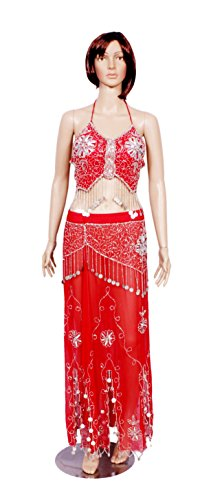 A 2pc Set of Belly Dance Dress Red Color Halter Bra Choli Hip Wrap Skirt Belly Dance Costume