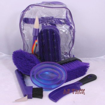 Childrens Horse Grooming Kit 8 Piece Set Back Pack Style Purple