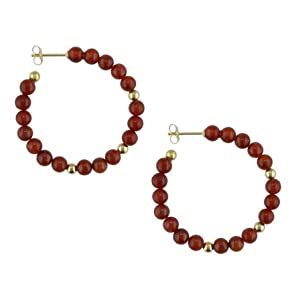 14k yellow gold red jade earrings with butterfly clasp