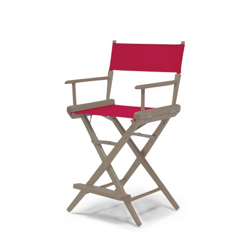 Hot Telescope Casual World Famous Counter Height Director Chair Rustic Grey With Red Canvas