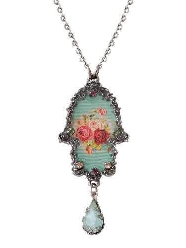 Michal Negrin Hamsa Pendant with Roses Bouquet, Swarovski Crystals and Blue Tear Drop - Victorian Style, Very Feminine