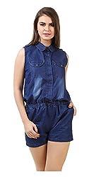 Brand Me Up Women's Jumpsuit (BMU-D26--L, Blue, Large)