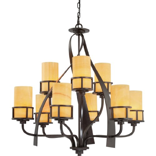 B003VS5X8M Quoizel KY5009IB Kyle 9-Light Chandelier with Butterscotch Onyx Glass, Imperial Bronze