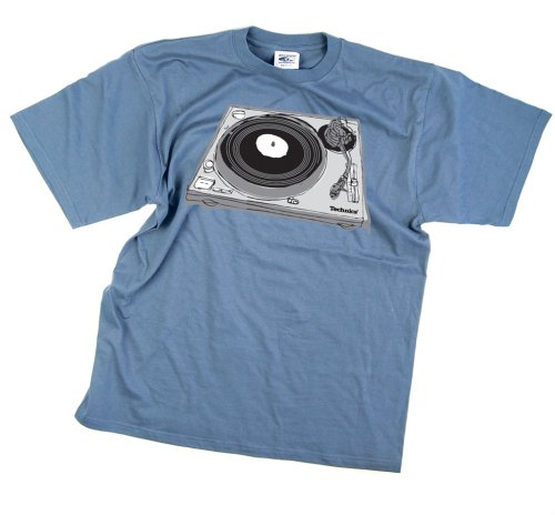 DMC Technics Turntable Sketch DJ Mens T-Shirt Sky Blue T023S Small