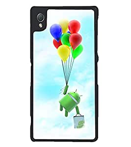 Printvisa Cartoon Hanging On Multicoloured Baloons Back Case Cover for Sony Xperia Z3::Sony Xperia Z3 D6653 D6603