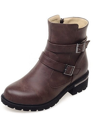 Donna Pu solido Tacchi Bassi Round punta chiusa Zipper Boots,marrone,noi6.5-7 / EU37 / UK4,5-5 /