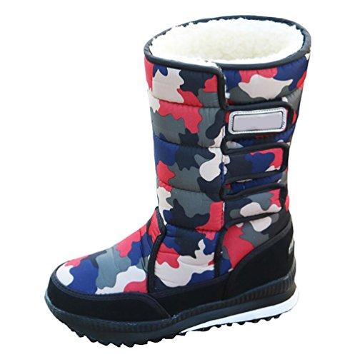 LvRao Donna alte scarponi doposci stivali impermeabili caldo scarpe sportive da donna scarpe da sci per invernali # Rosso 38