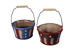 Patriotic Red White and Blue Decorative Ceramic Buckets - Variety 2 Pack