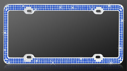 Chrome Metal Car License Plate Frame with Triple Row Blue Crystals