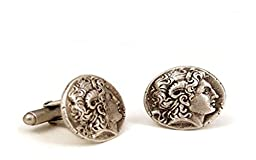 Pewter Tone Classic Alexander The Great Greek Coin Cufflinks, Museum Style Jewelry With History Card