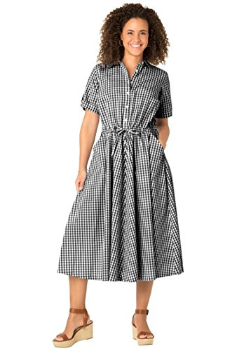 Women's Plus Size Black Gingham